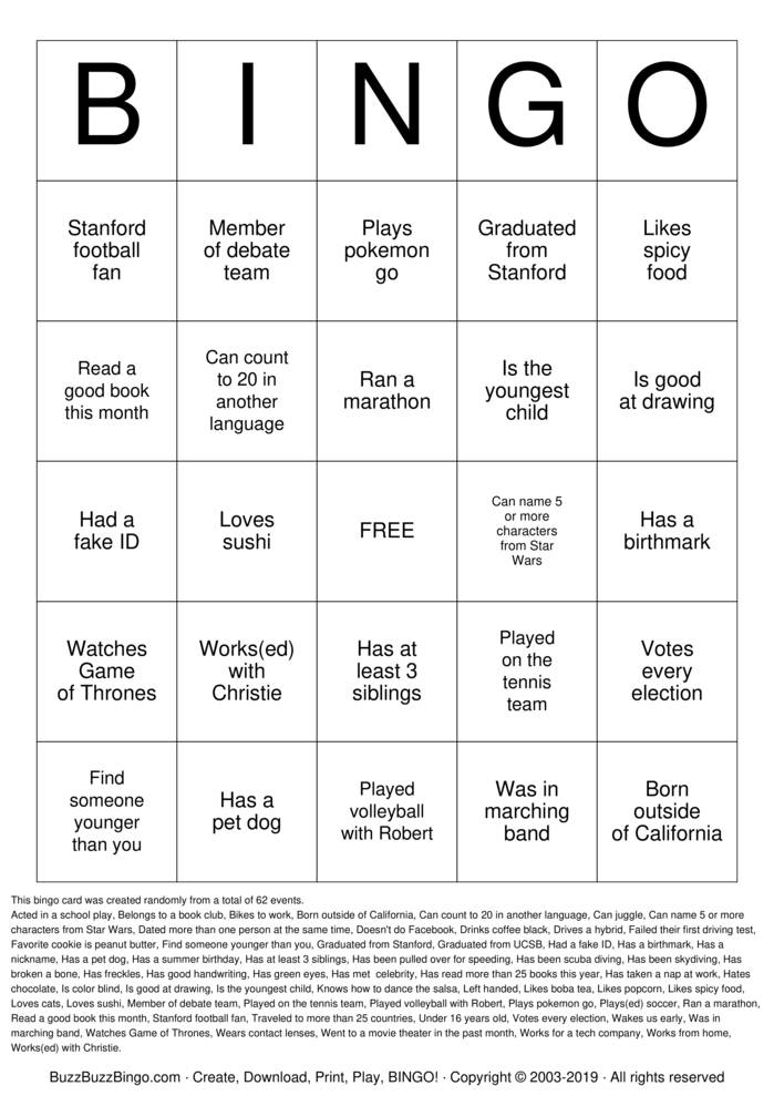 Download Free Autograph  Bingo Cards