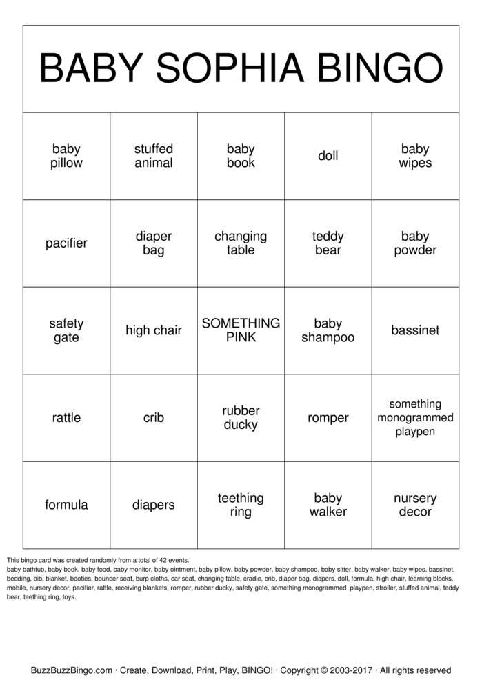 Download Free Baby Shower Bingo Cards