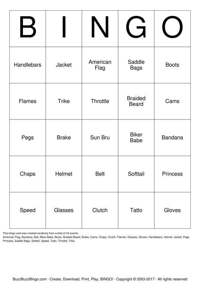 Biker  Bingo Card