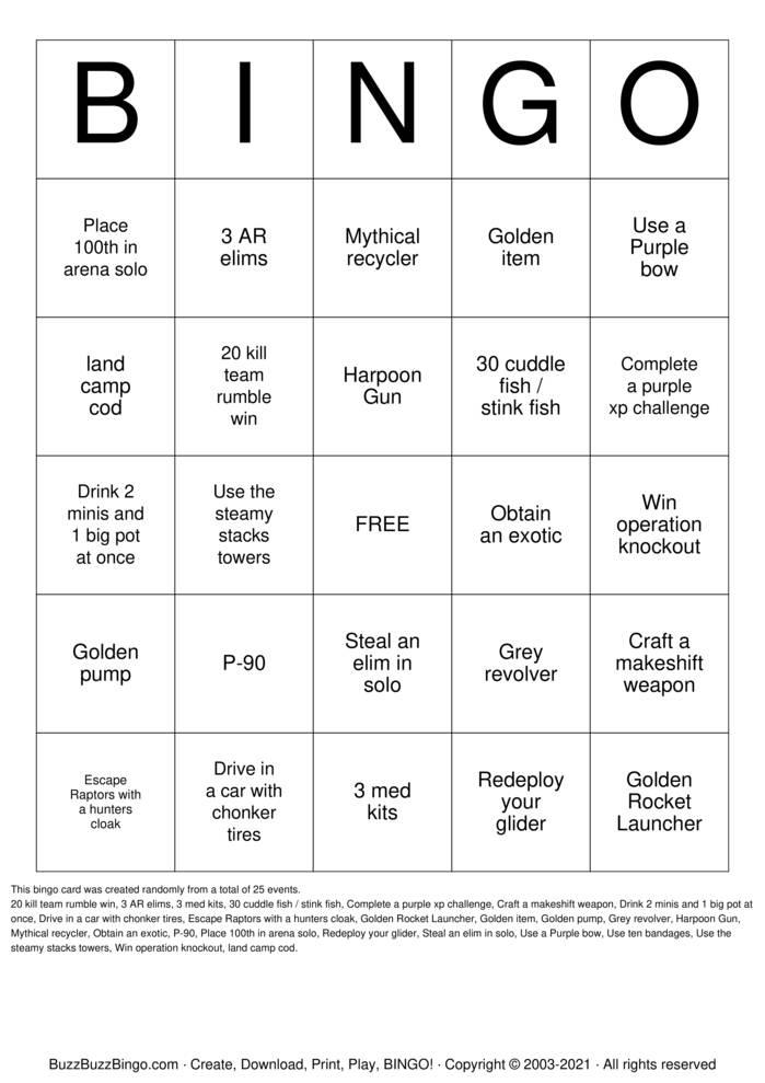 Download Free Fortnite Bingo Cards