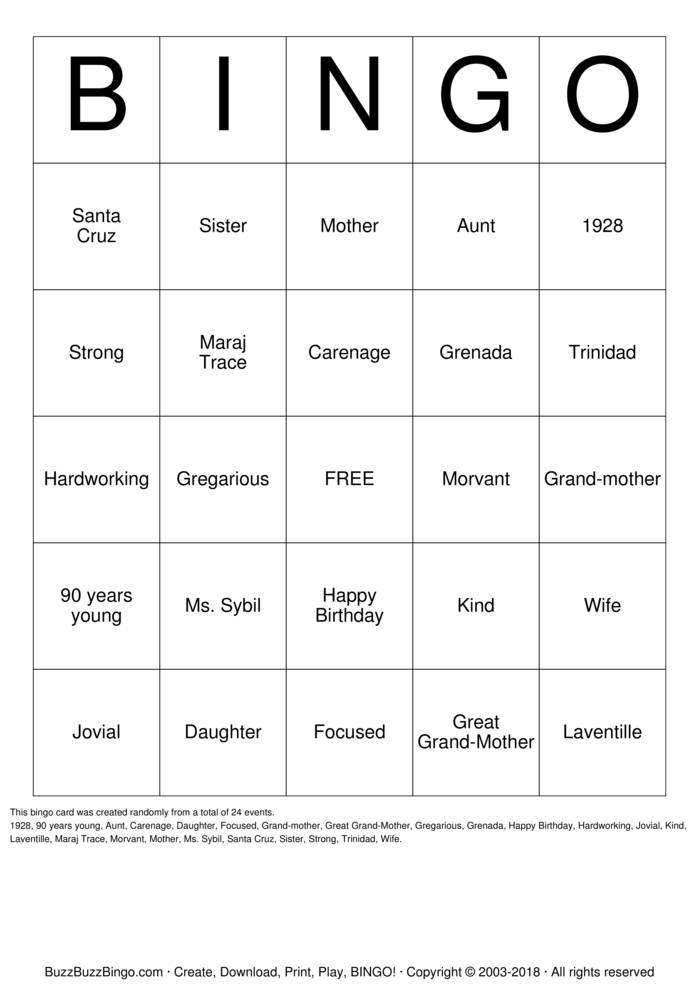 Download Granny Bingo Cards