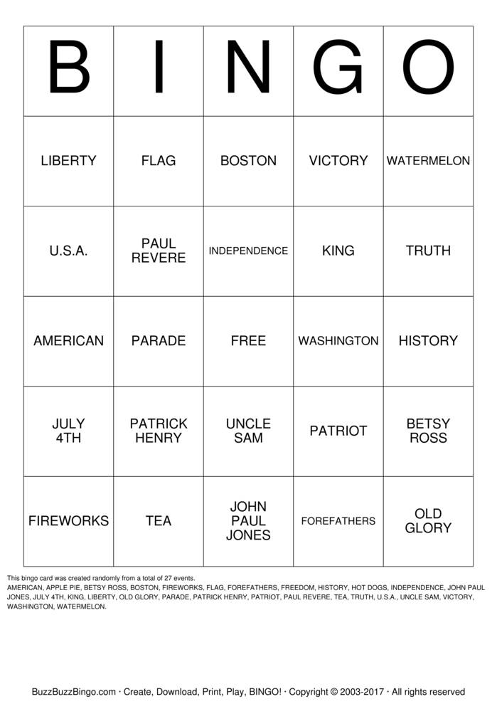 July 4th Bingo Card