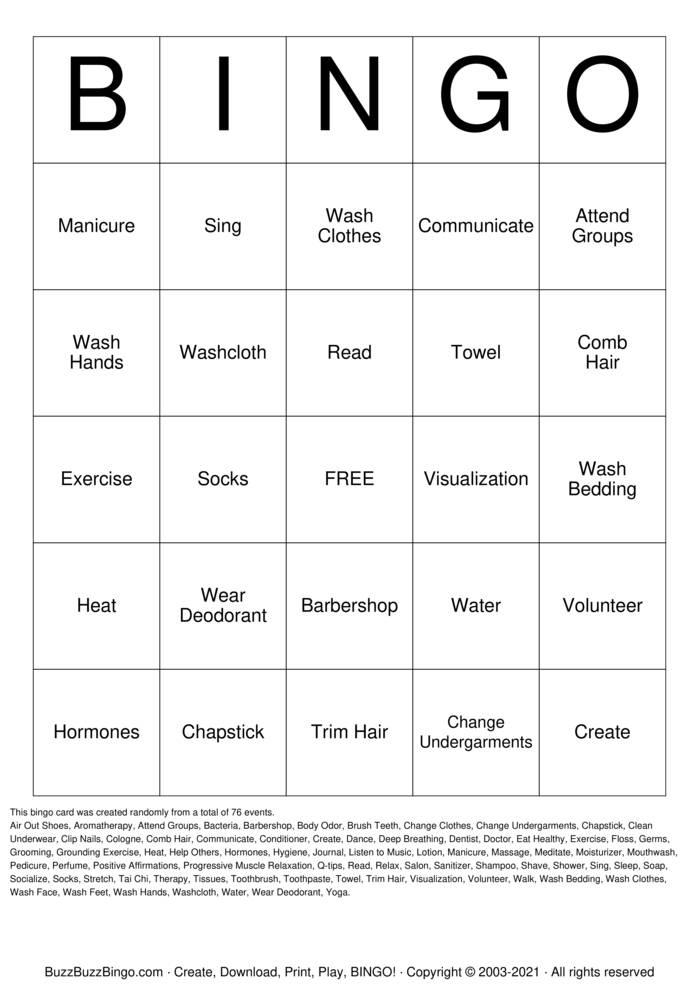 Download Free Self-Care Bingo Cards