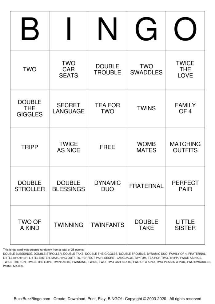 Download Free TWINS Bingo Cards