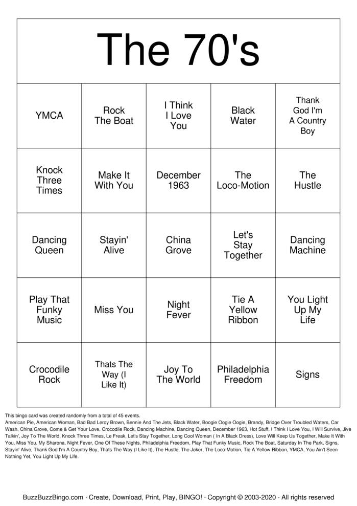 Download Free The 70's Bingo Cards
