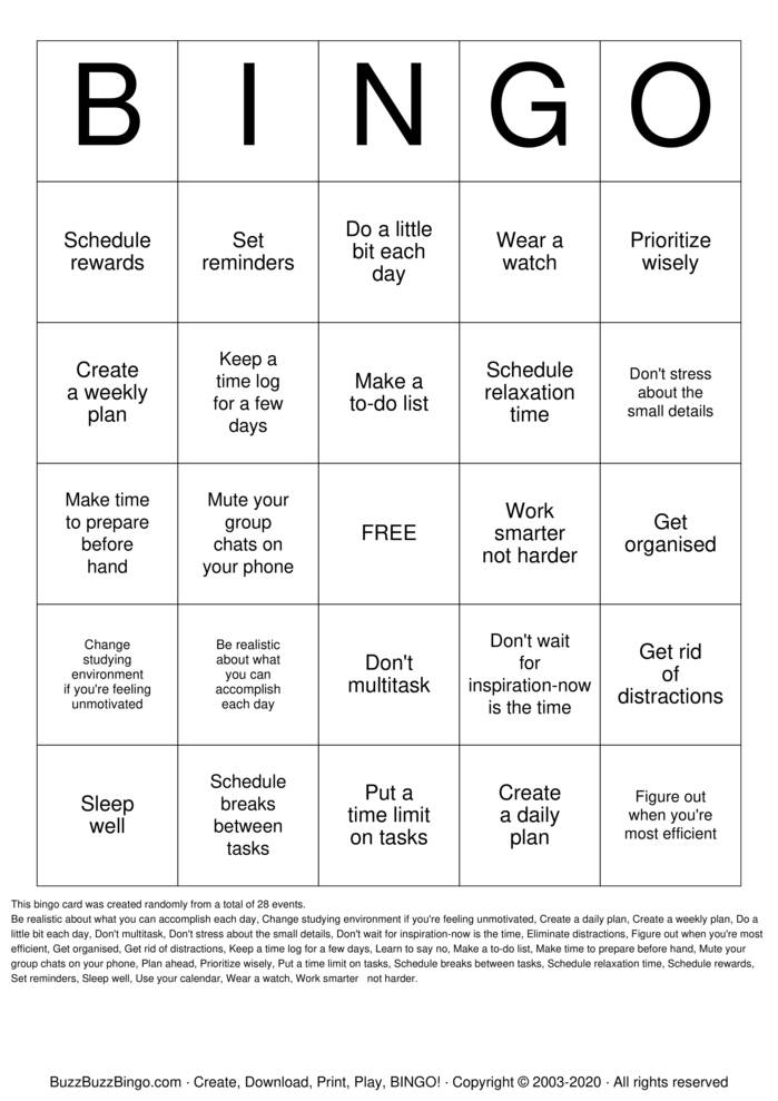 Download Free Time Management Bingo Cards