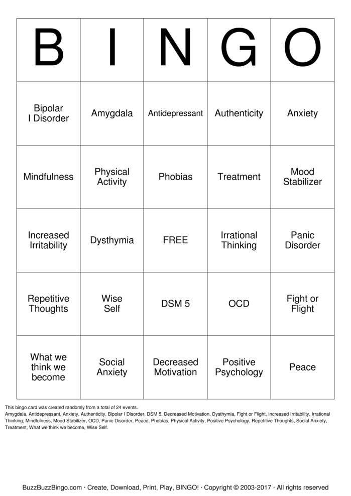 mindfulness Bingo Card