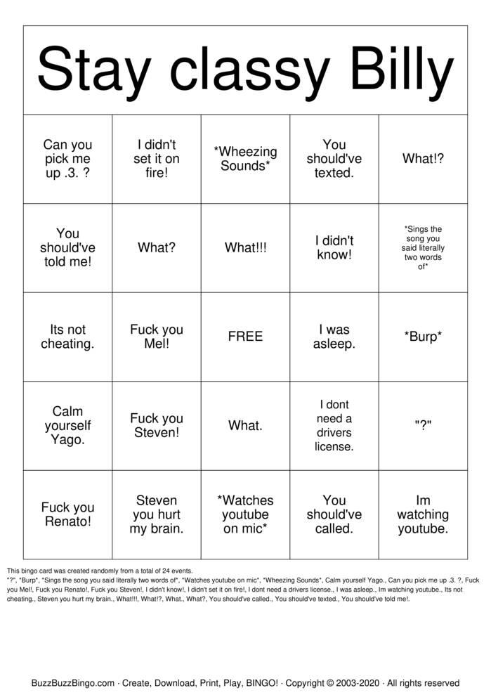 Download Free Billy Bingo Bingo Cards