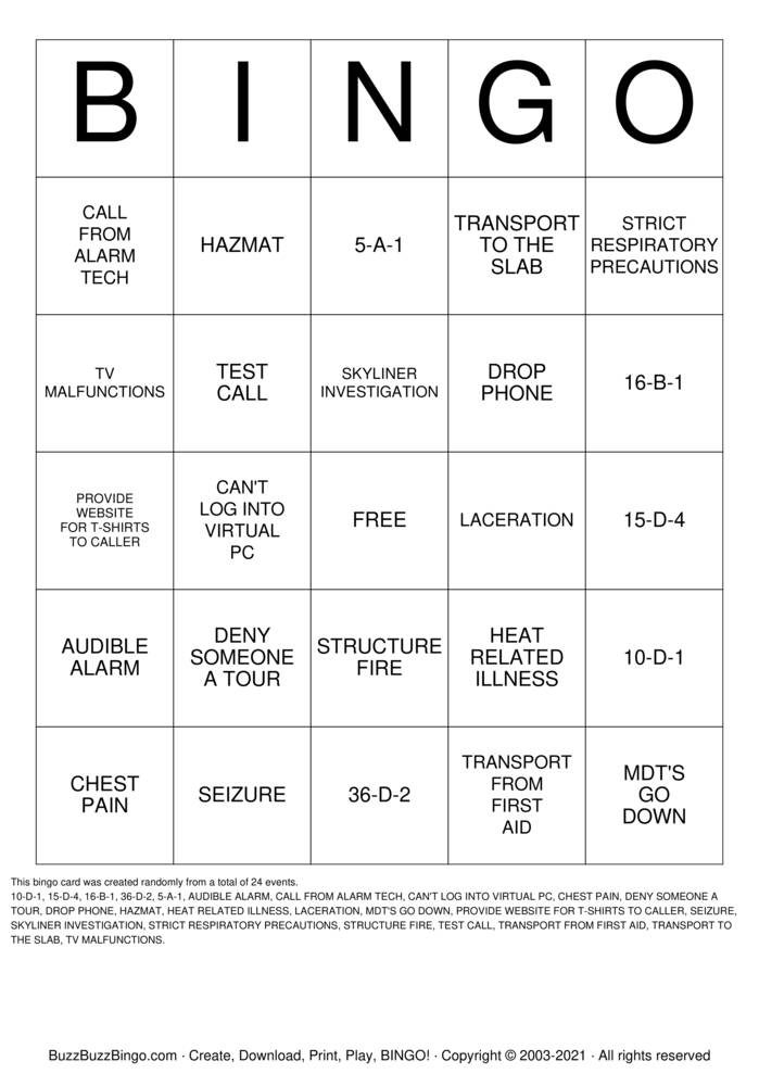 Download Free Dispatch Bingo Cards