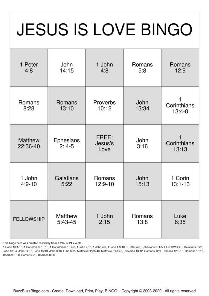 Download Free Jesus is Love Bingo Cards