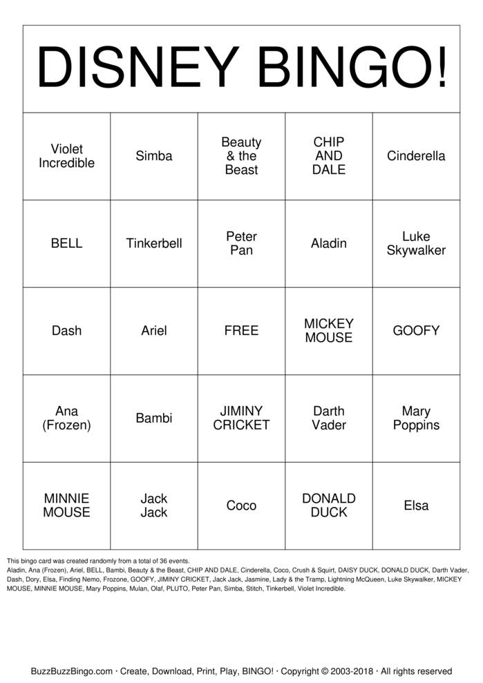 Download Free Mickey Mouse Bingo Cards