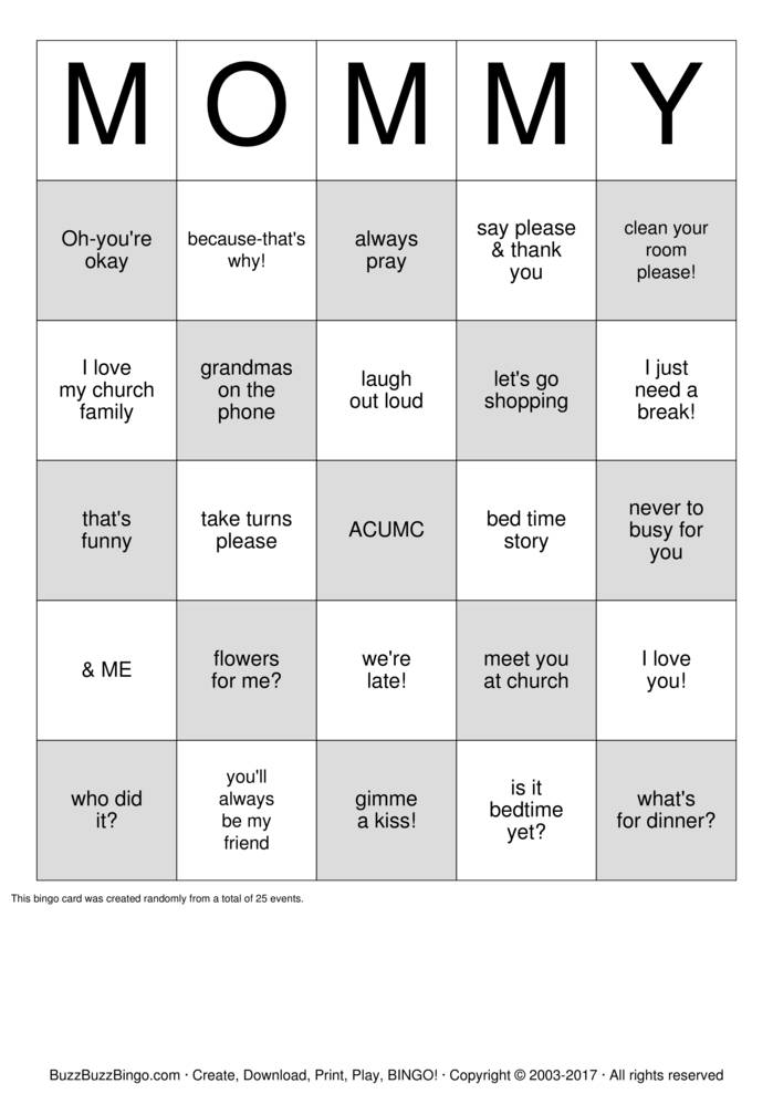 Download Mother Daughter Luncheon Bingo Cards