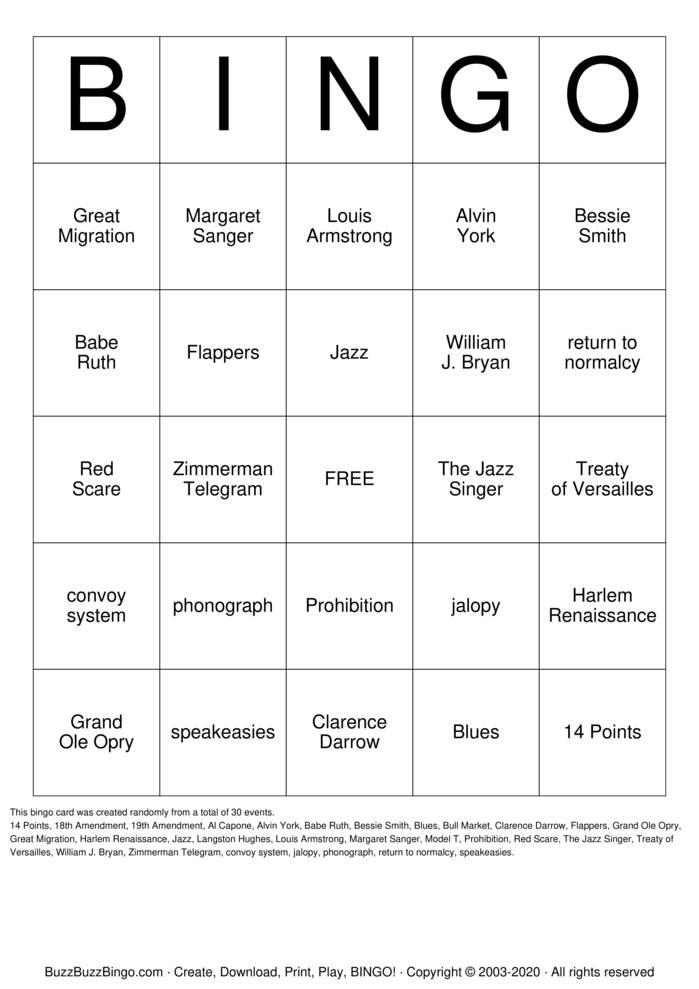 Download Free The Roaring Twenties Bingo Cards