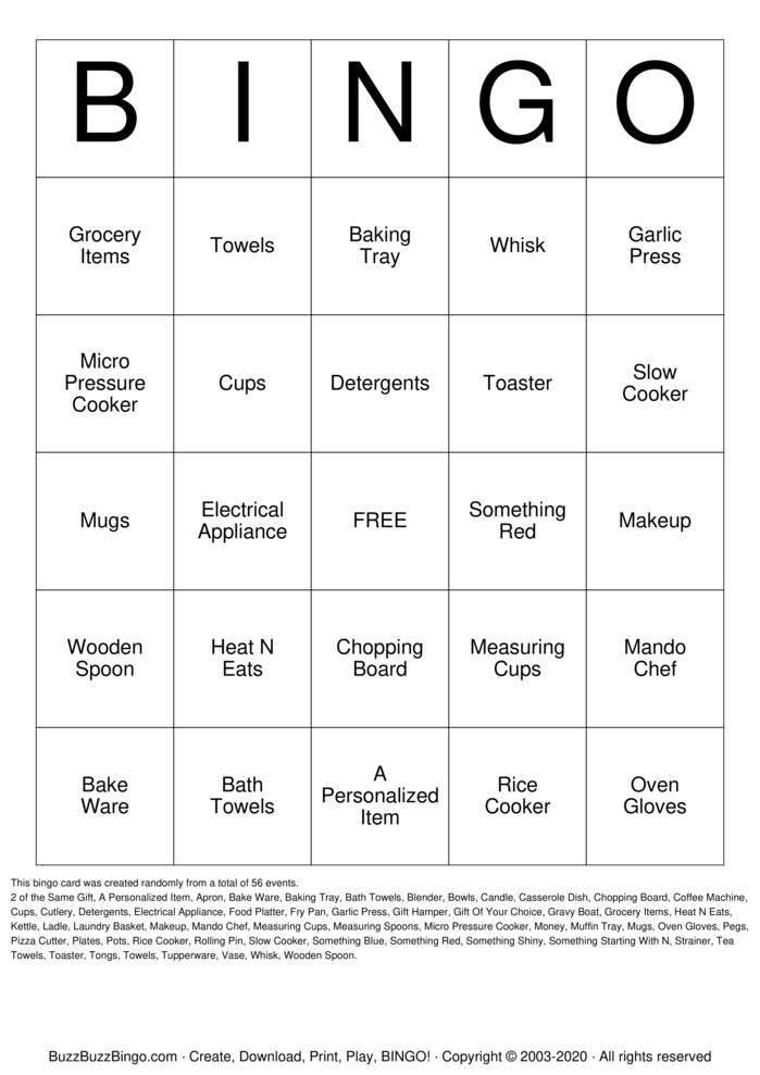 Download Free Tupperware Bingo Cards