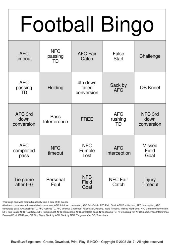 Download Free Football Bingo Cards
