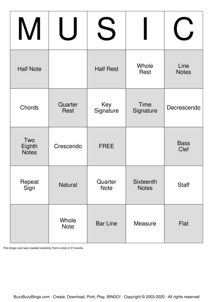Download Free MUSIC Bingo Cards