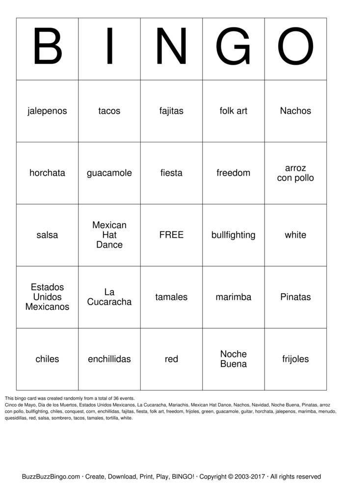Mexican Culture Bingo Card