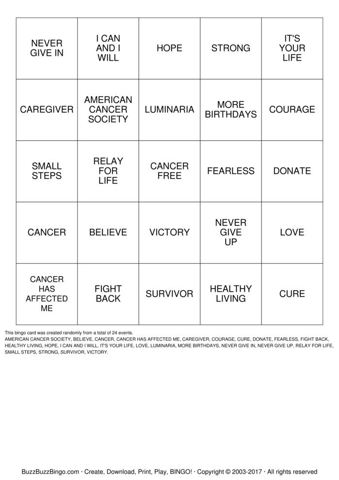Download Free RELAY FOR LIFE Bingo Cards
