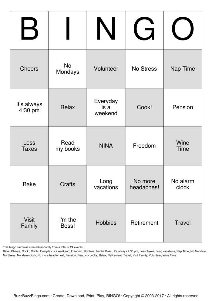 Download Free Retirement Bingo Cards