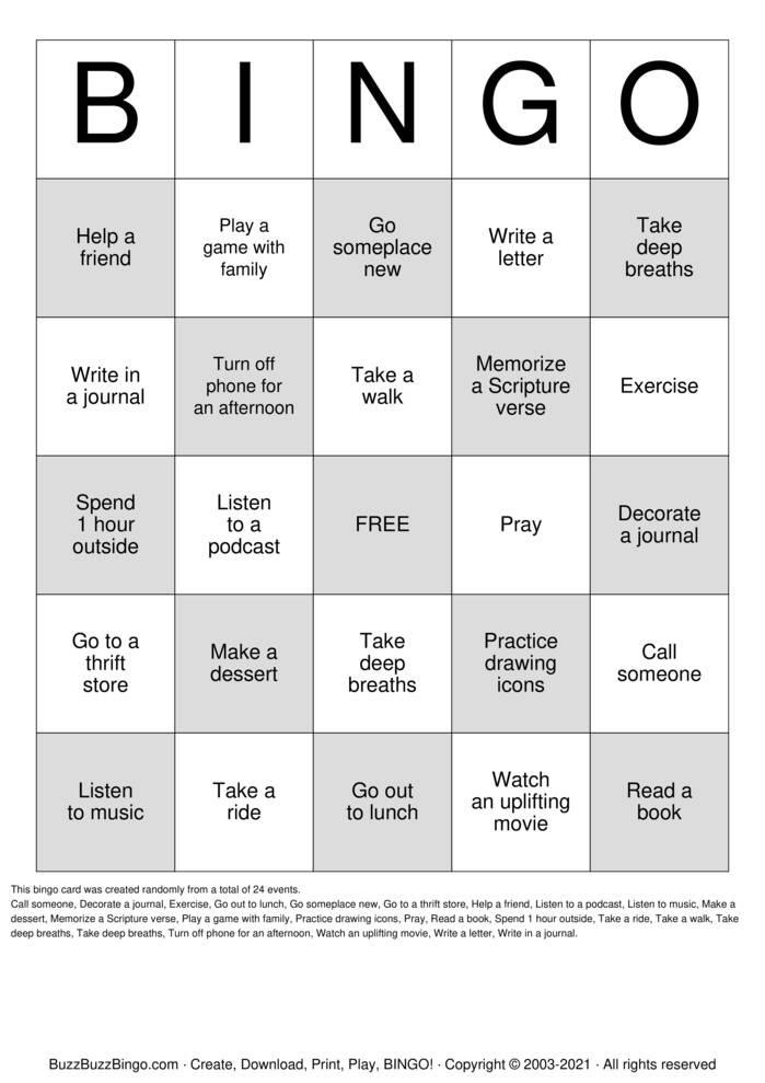 Download Free Self Care Bingo Cards