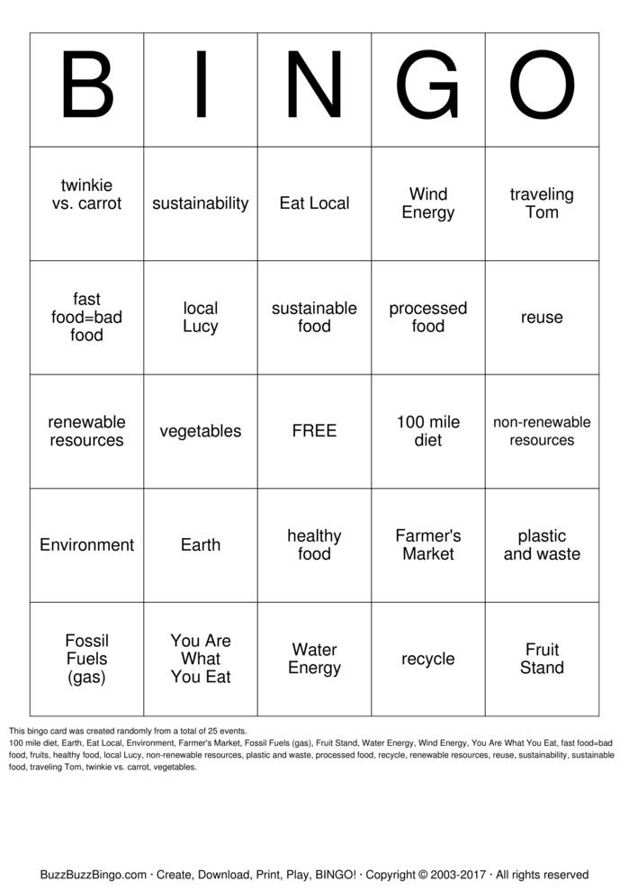Sustainability Bingo Card