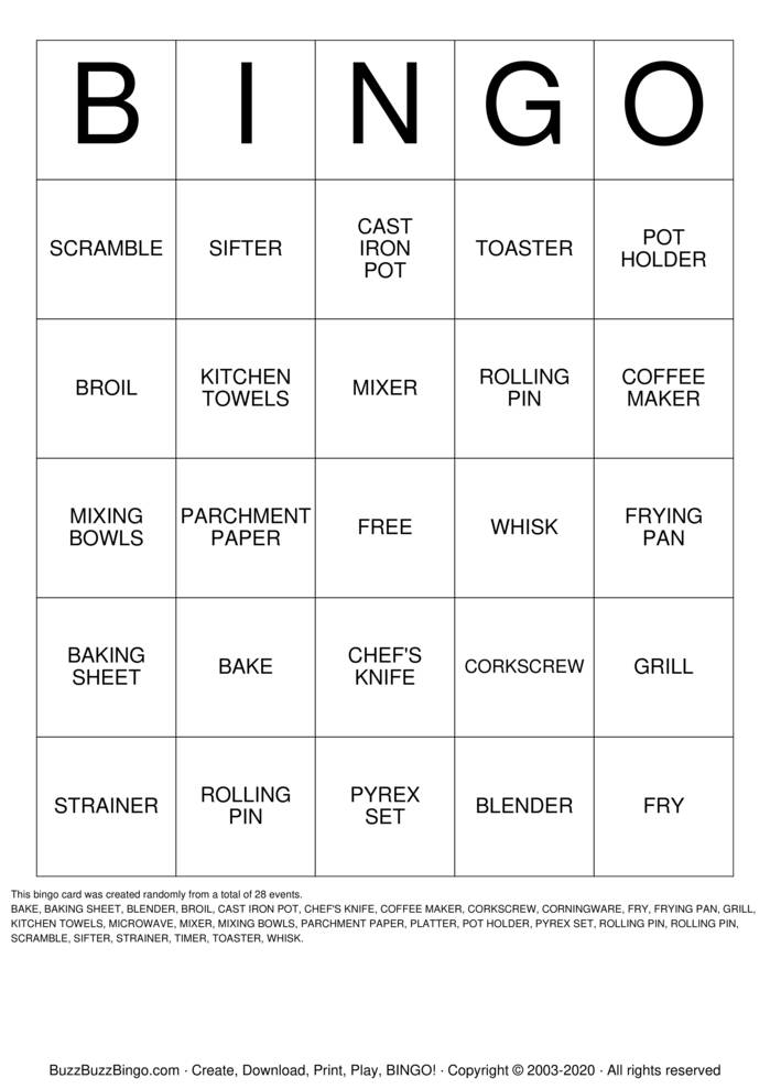 Download Free cooking Bingo Cards