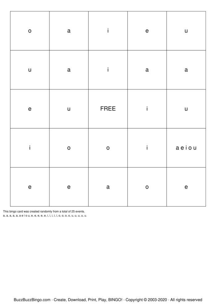 Download Free A E I O U Bingo Cards