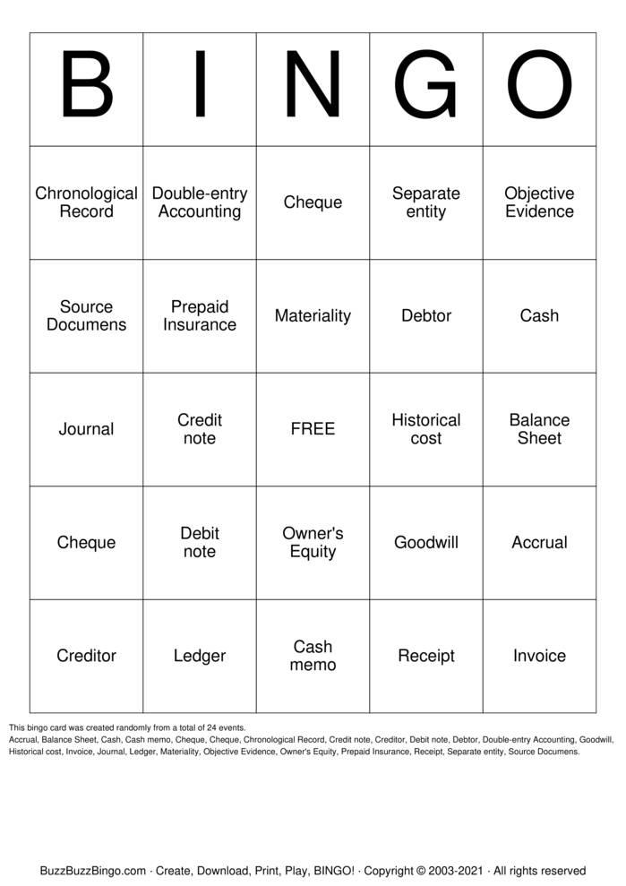 Download Free Accounting Bingo Bingo Cards