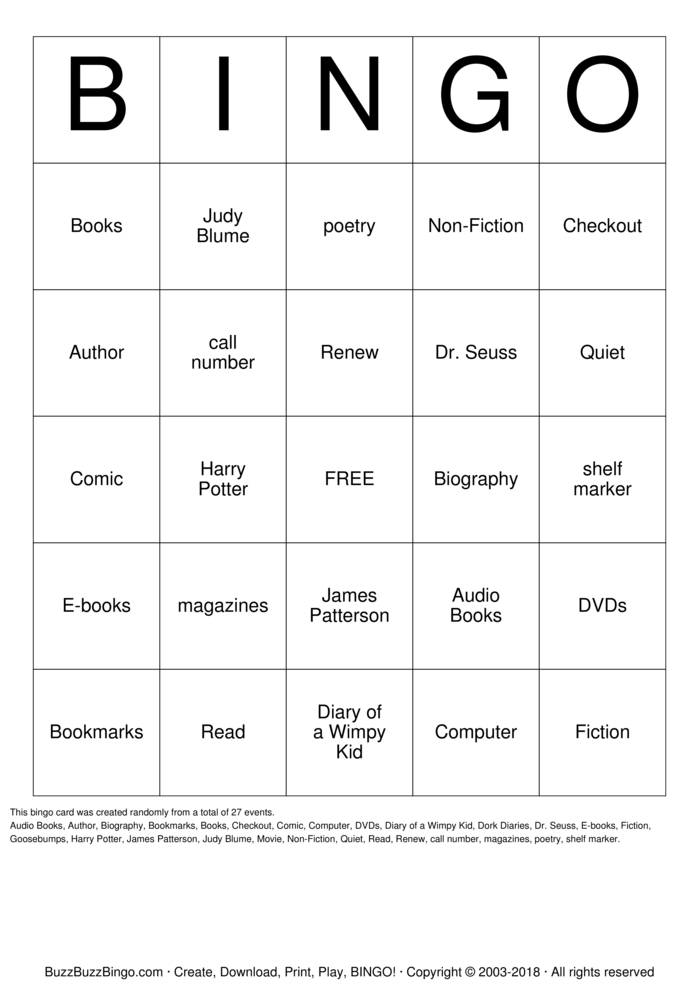 Download Library Bingo Bingo Cards