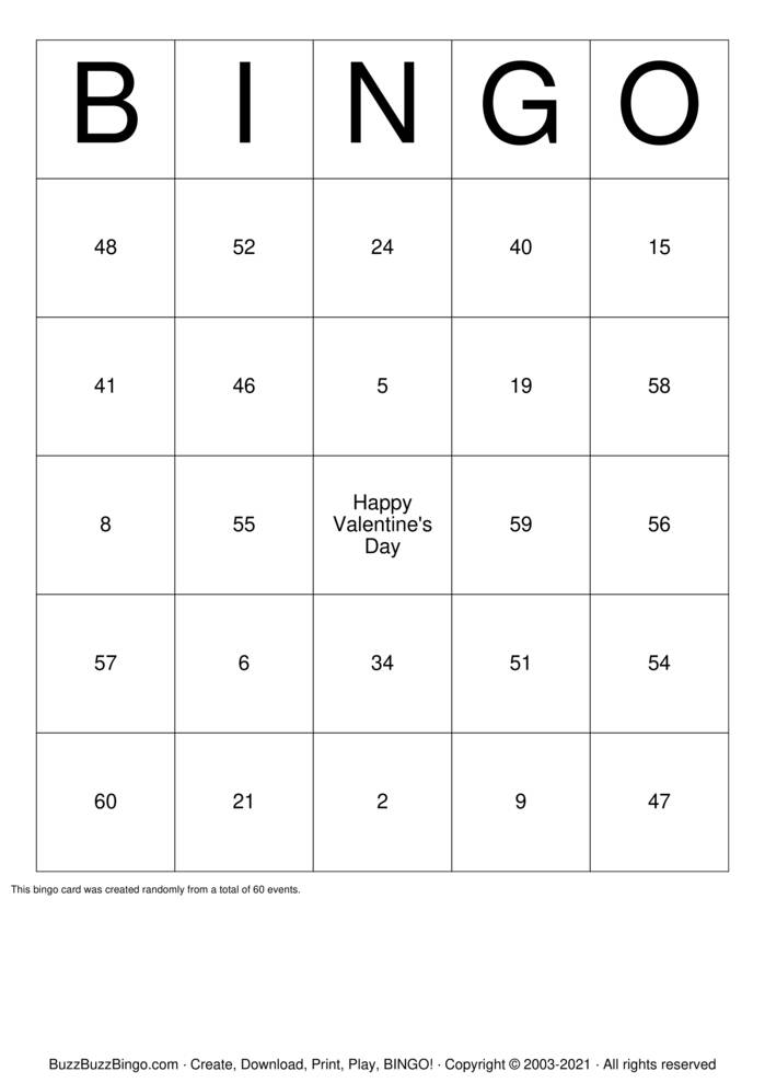 Download Free Numbers 1-70 Bingo Cards