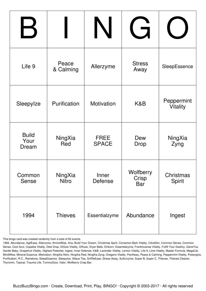 Download Free Oily Bingo Bingo Cards