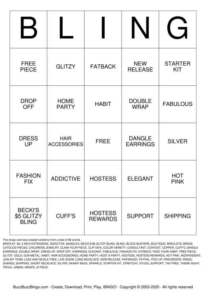 Download Free PrettyInJewlz Accessories  Bingo Cards