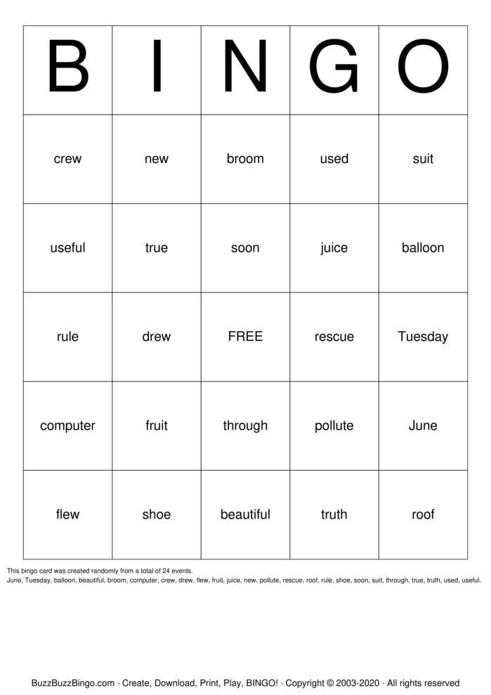 Download Free Spelling Bingo Bingo Cards