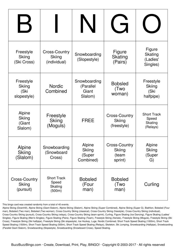 Winter Olympics Bingo Card