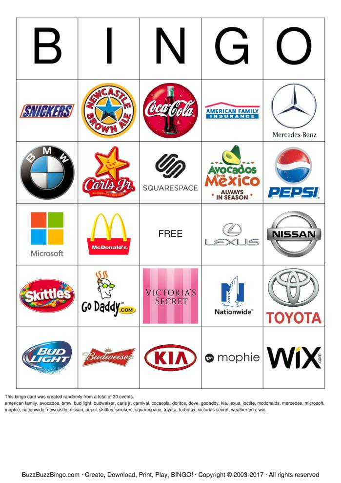 Download Free 2015 Superbowl Commercial Logos Bingo Cards