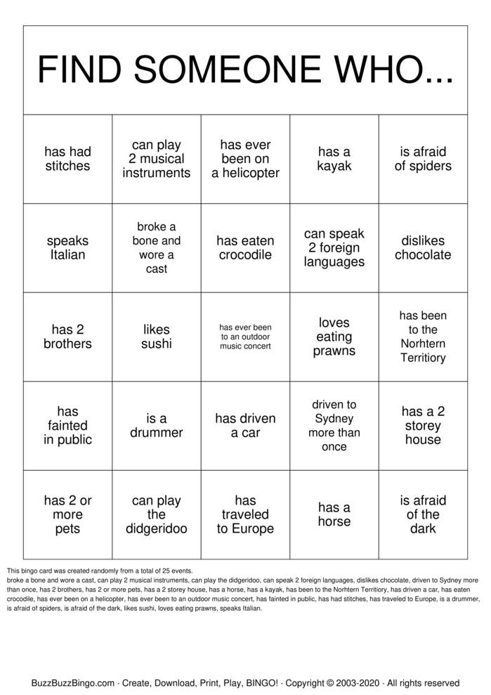 Download Free Getting to Know you! Bingo Cards