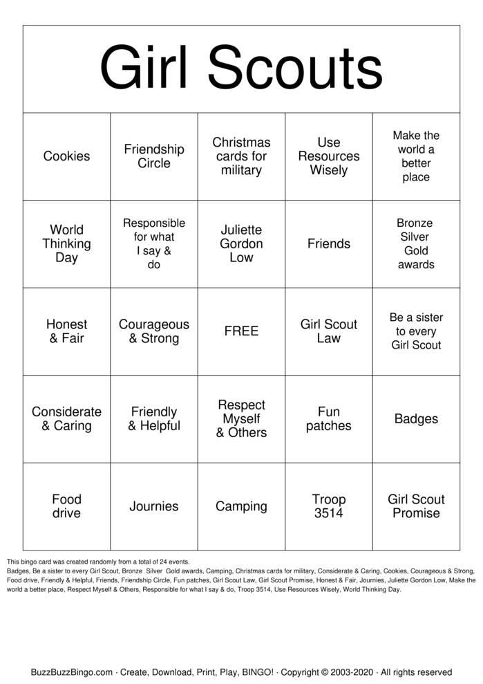 Download Free Girl Scout Bingo Bingo Cards
