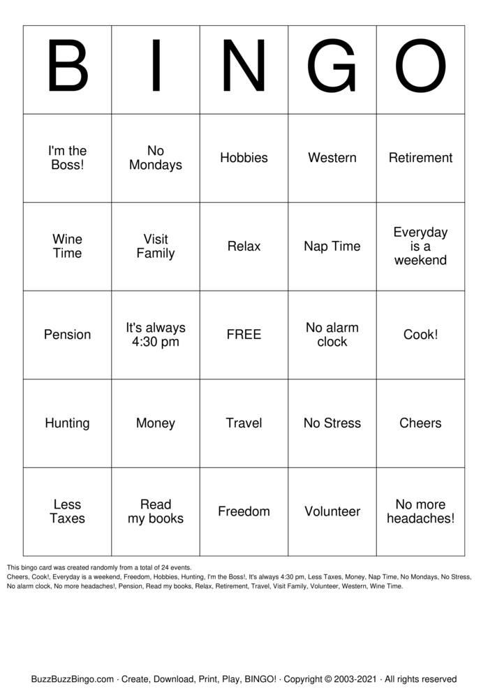 Download Free Happy Retirement Bingo Bingo Cards