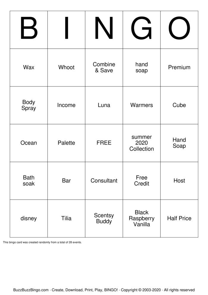 Download Free Scentsy Bingo Cards