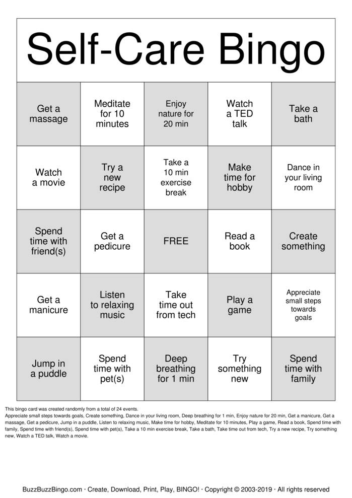 Self-Care Bingo Bingo Card