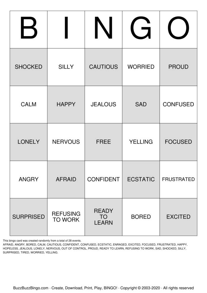 Download Free Social Skills- Feelings Bingo Cards