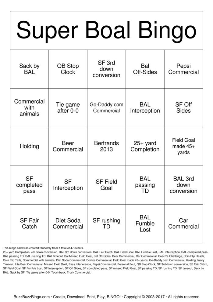 Download Free Superbowl Bingo Cards