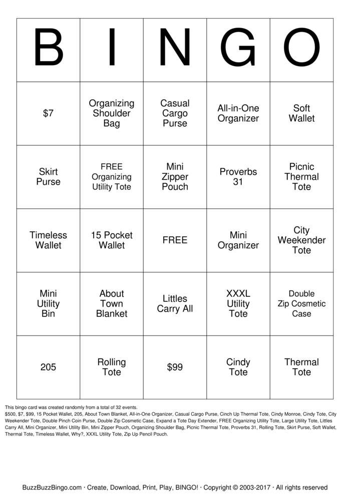 Thirty One Bingo Card