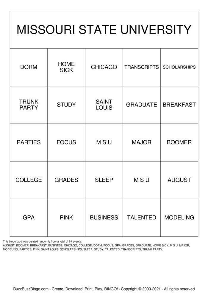 Download Free CHRISTINA Trunk Party Bingo Bingo Cards