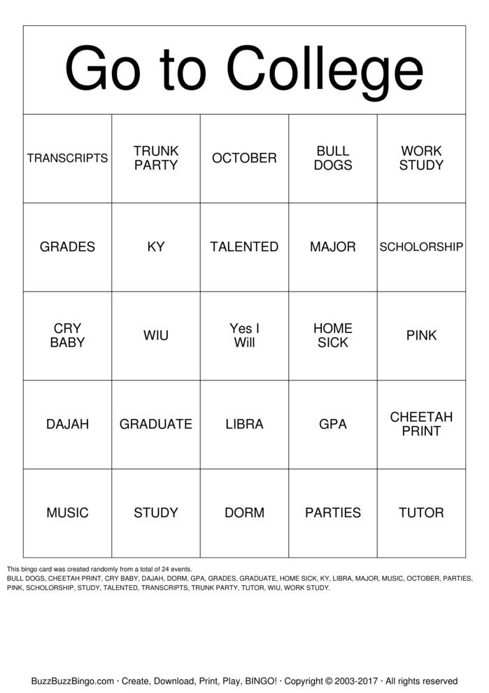 graphic regarding Printable Trunk Party Games referred to as College or university Bingo Playing cards in the direction of Obtain, Print and Personalize!