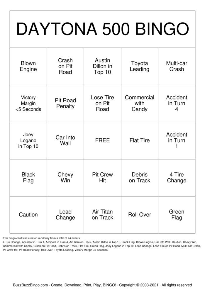 Download Free DAYTONA 500 Bingo Cards