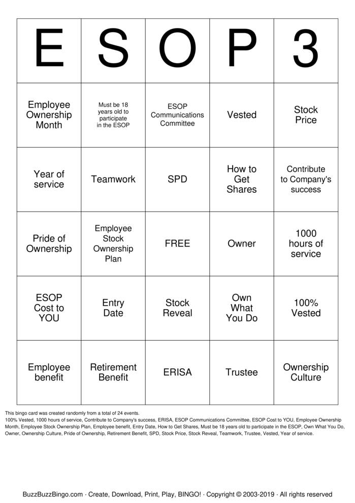 Download Free ESOP Bingo Bingo Cards