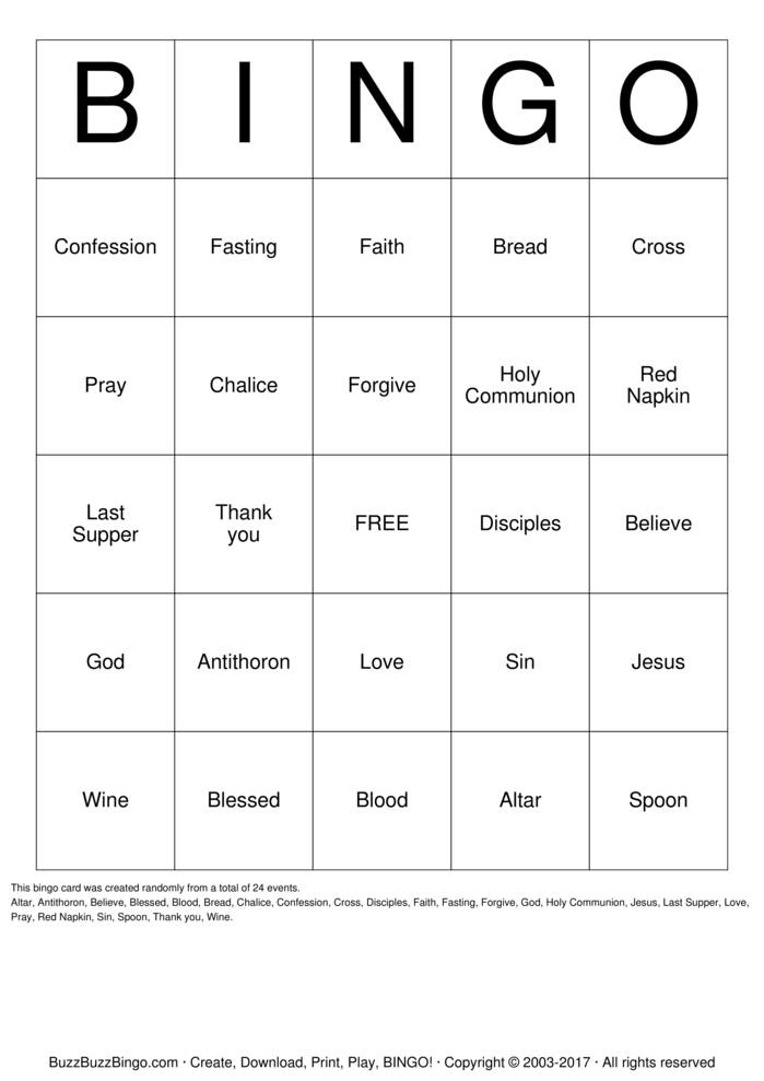Download Free Holy Communion Bingo Cards