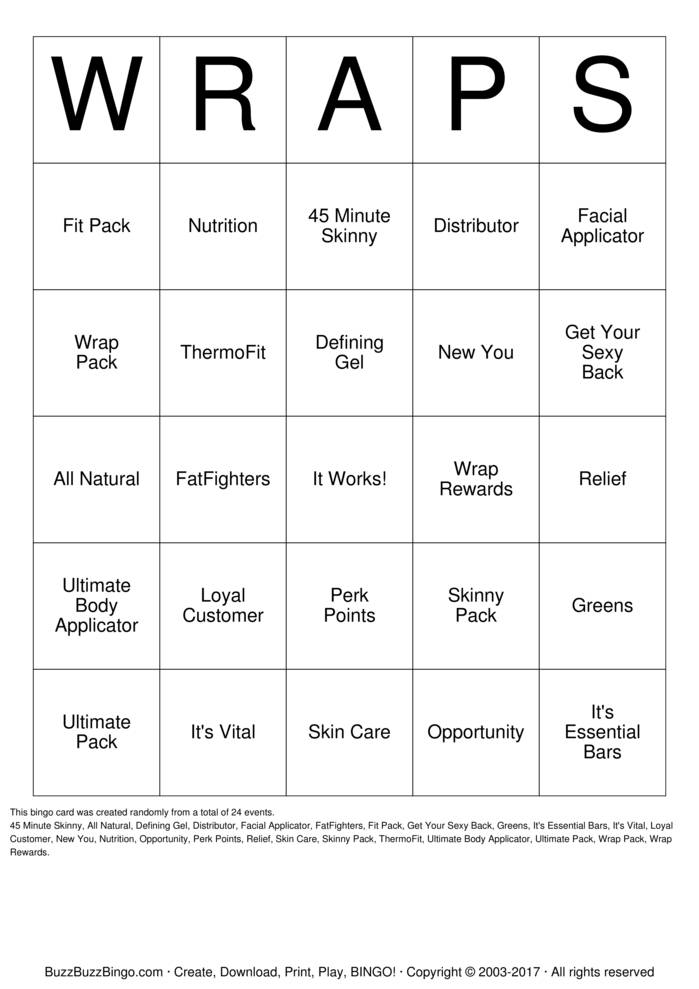 Download It Works! Bingo Cards