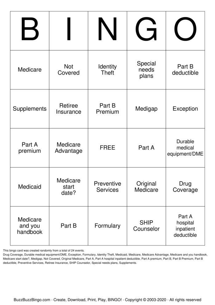 Download Free Medicare Bingo Bingo Cards